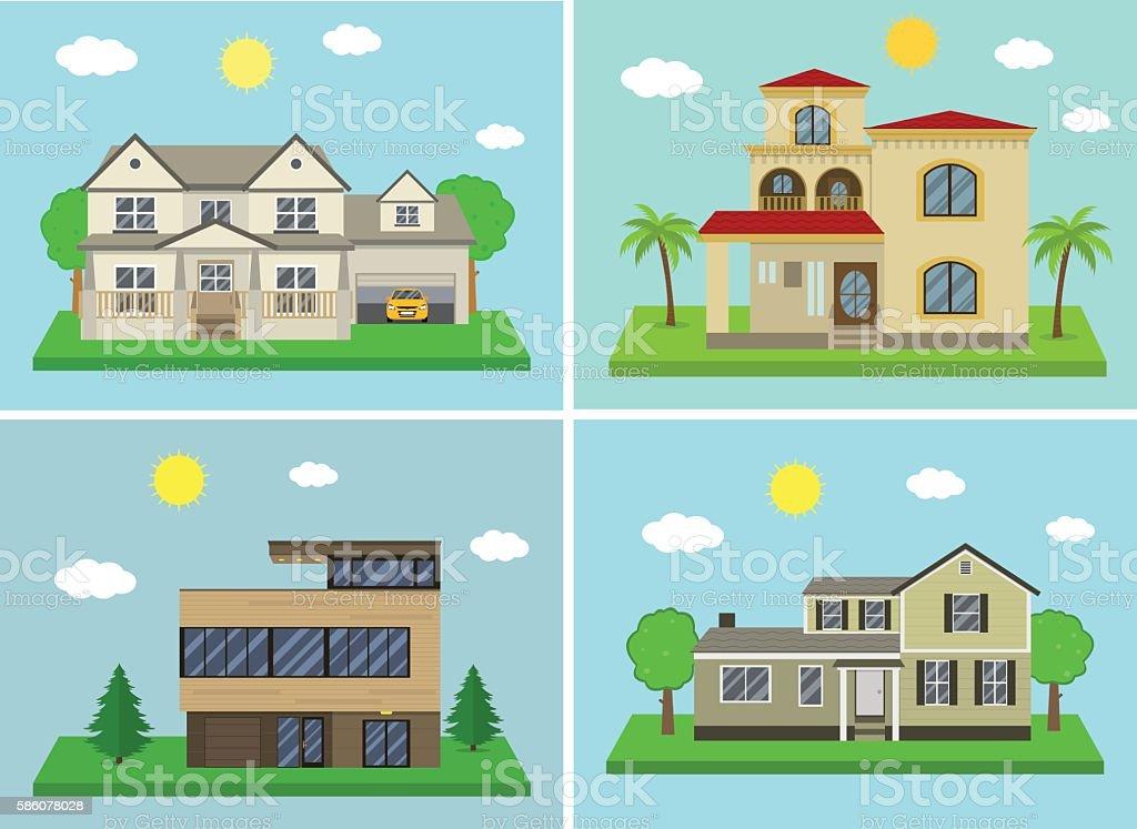 Vetores De Cottage House Building Set Flat Design Style Vector E Mais Imagens De Apartamento Istock