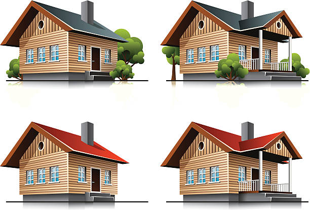 Cottage house cartoon icons This illustration is EPS10 vector file and includes transparency multiply effects in shadows in separate layers. Check my portfolio for more building types. AI file included. porch stock illustrations