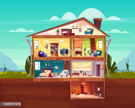 istock Cottage house cross section rooms plan vector 1205257475