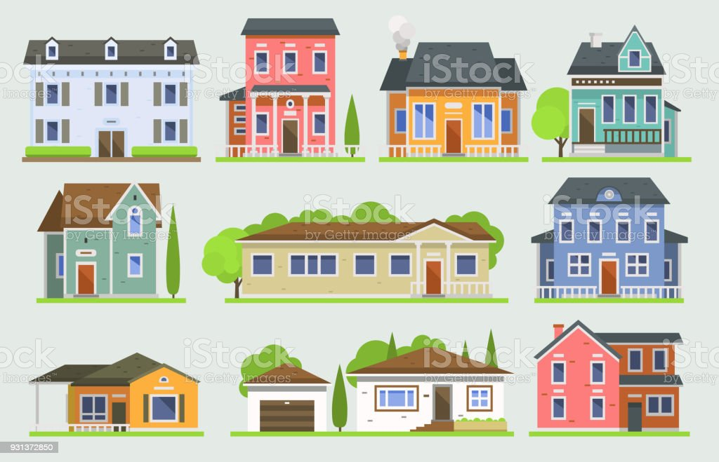 Cottage house facede vector city street view buildings of town house face side modern world house building flat architecture illustration cottage residential house construction cityscape houses vector art illustration