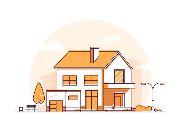 Cottage house - modern thin line design style vector illustration Cottage house - modern thin line design style vector illustration on white background. Orange colored high quality composition with a two storey building with garage, lantern, tree, bench, rubbish bin porch stock illustrations