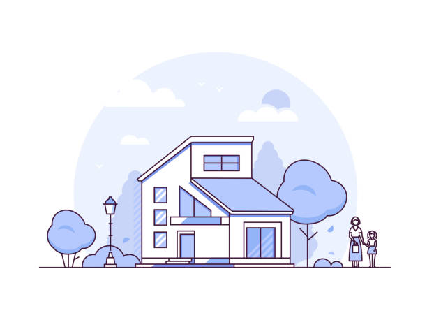 Cottage house - thin line design style vector illustration Cottage house - thin line design style vector illustration on white background. Purple colored composition with a small nice building, lantern, trees. Mother and daughter standing next to a house modern house stock illustrations