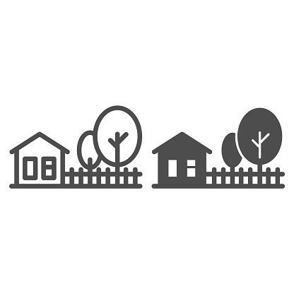 Cottage house with trees line and solid icon, Summer concept, Rural landscape sign on white background, farm house and trees icon in outline style for mobile concept and web design. Vector graphics