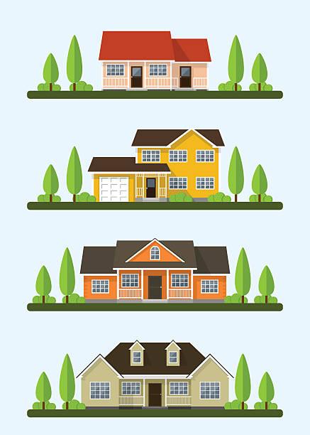 illustrations, cliparts, dessins animés et icônes de cottage dispose d'un ensemble - nouveau foyer