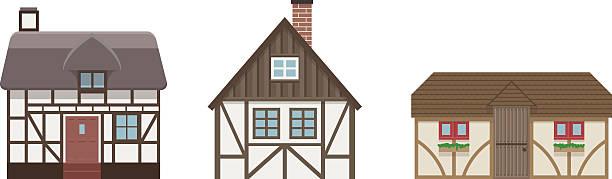 cottage häuser - landhaus stock-grafiken, -clipart, -cartoons und -symbole