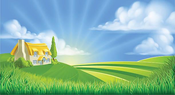 cottage in rolling hills - landhaus stock-grafiken, -clipart, -cartoons und -symbole