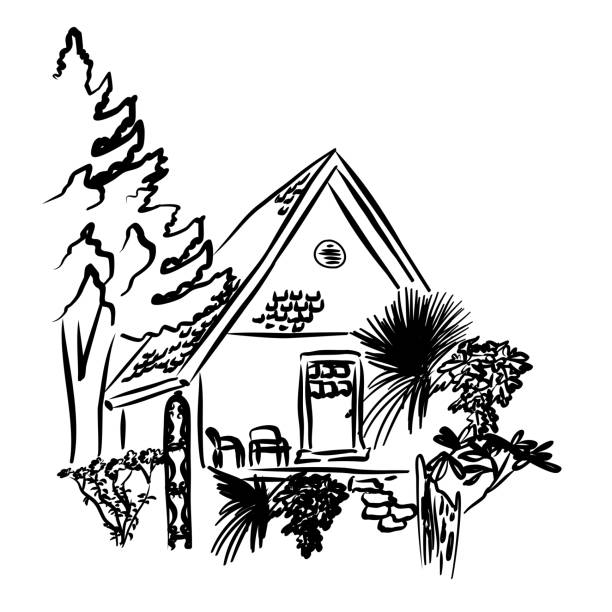 Cottage In The Forest Cute little countryside cottage cottage stock illustrations