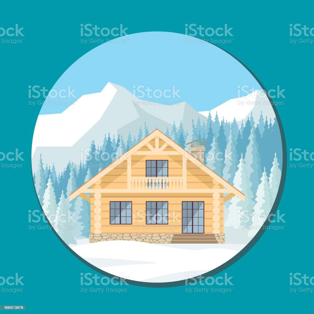 cottage in the mountains vector art illustration