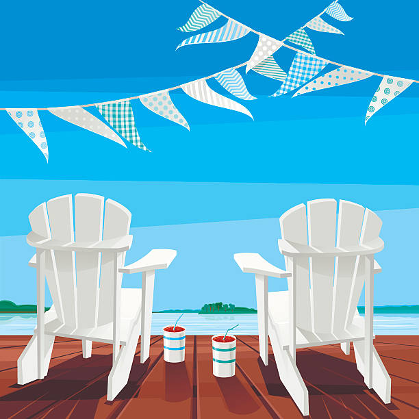 Cottage Life Background Two white Muskoka chairs and two drinks on a deck. Summer time. Vector illustration. EPS 8. adirondack chair stock illustrations
