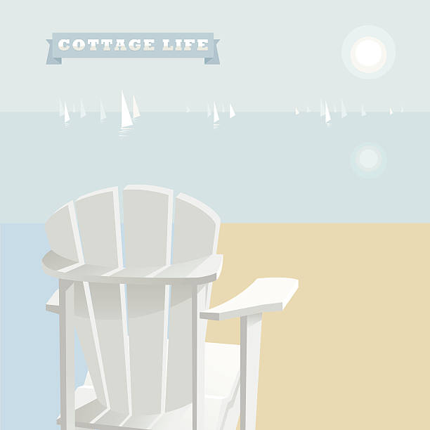 Cottage Life White Adirondack Chair on a lake shore with