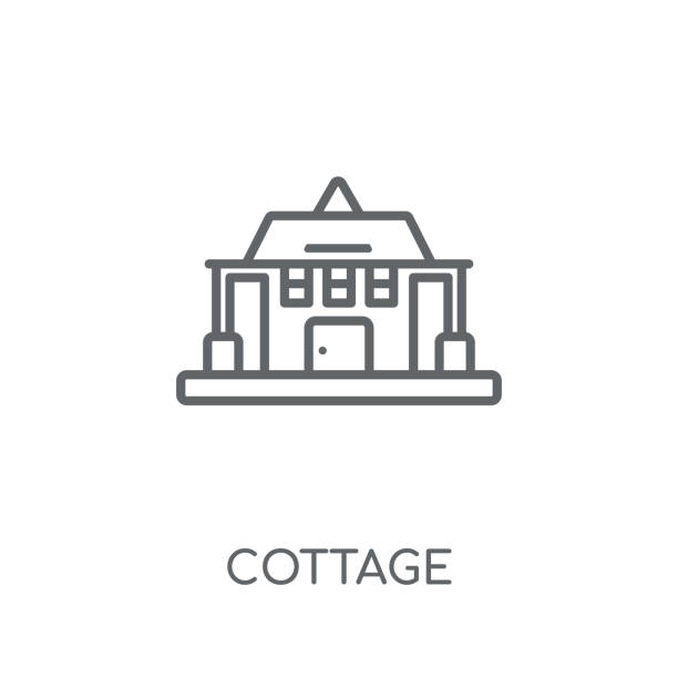 Cottage linear icon. Modern outline Cottage logo concept on white background from Real Estate collection Cottage linear icon. Modern outline Cottage logo concept on white background from Real Estate collection. Suitable for use on web apps, mobile apps and print media. muskoka stock illustrations