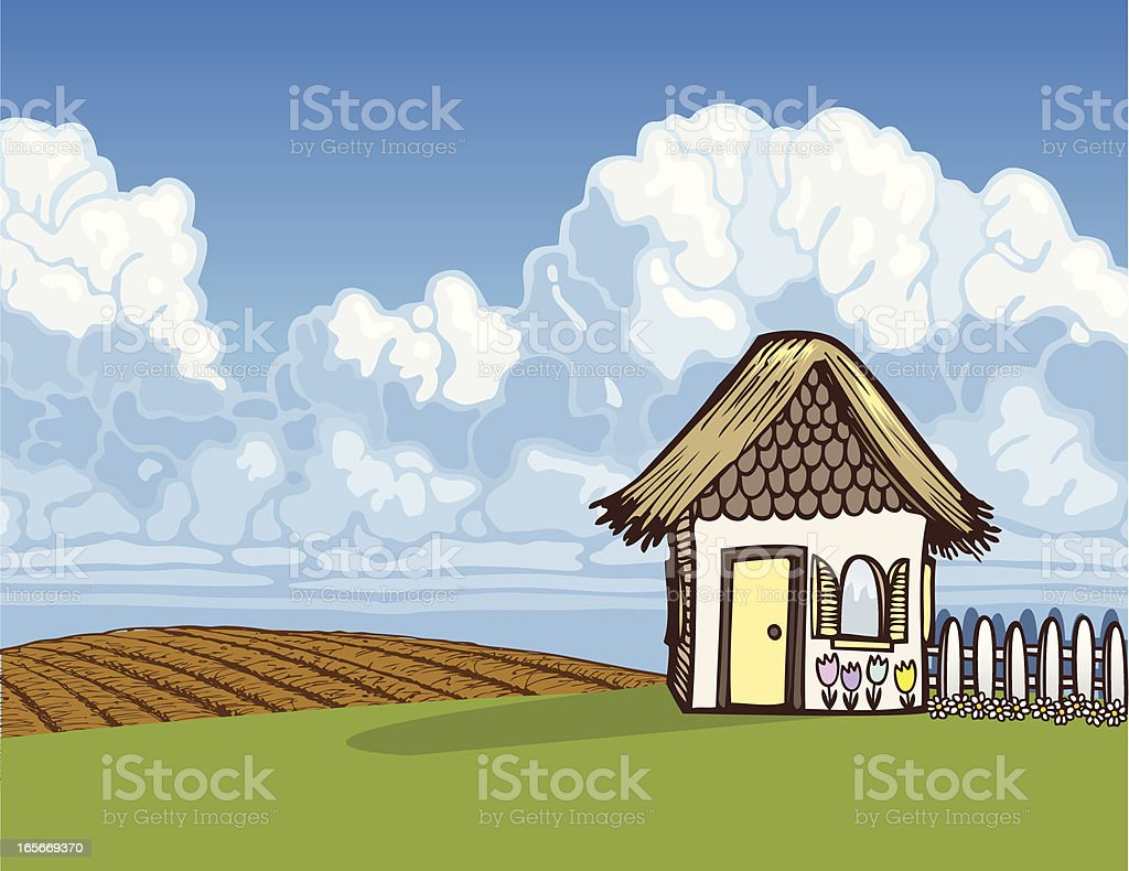 Cottage Scene royalty-free stock vector art