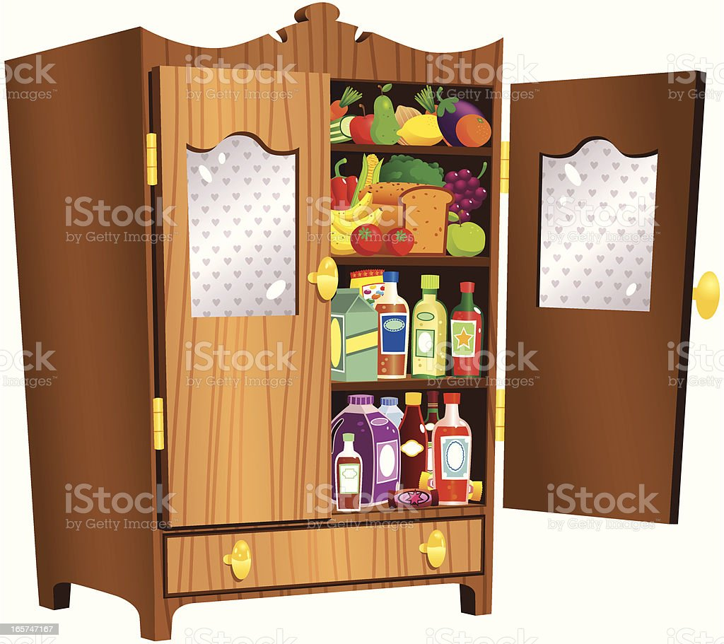 Royalty Free Open Kitchen Cabinet Clip Art, Vector Images
