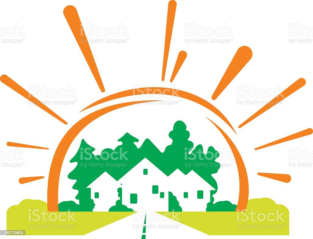 Cottage village with sun. royalty-free stock vector art