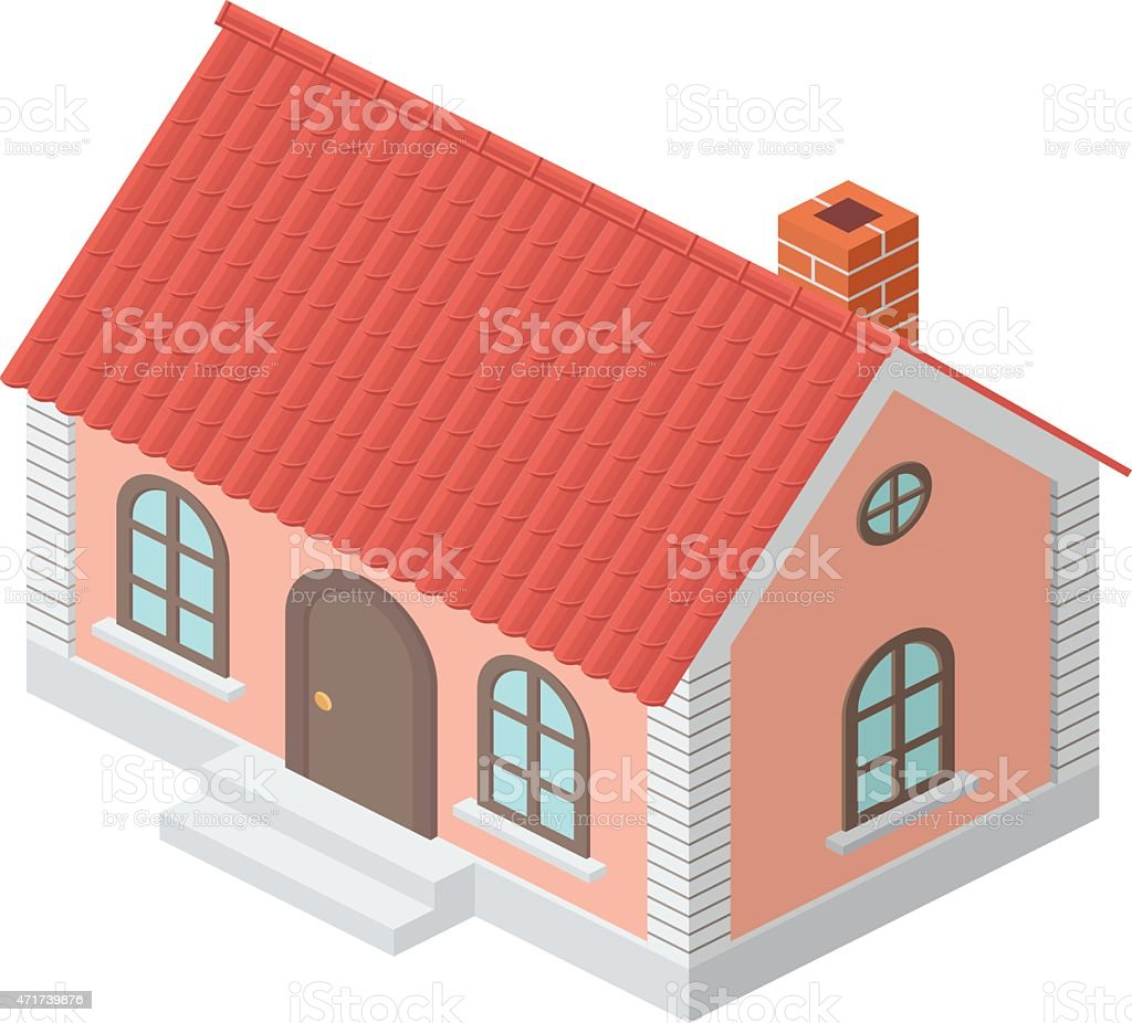Cottage with a Tiled Roof vector art illustration
