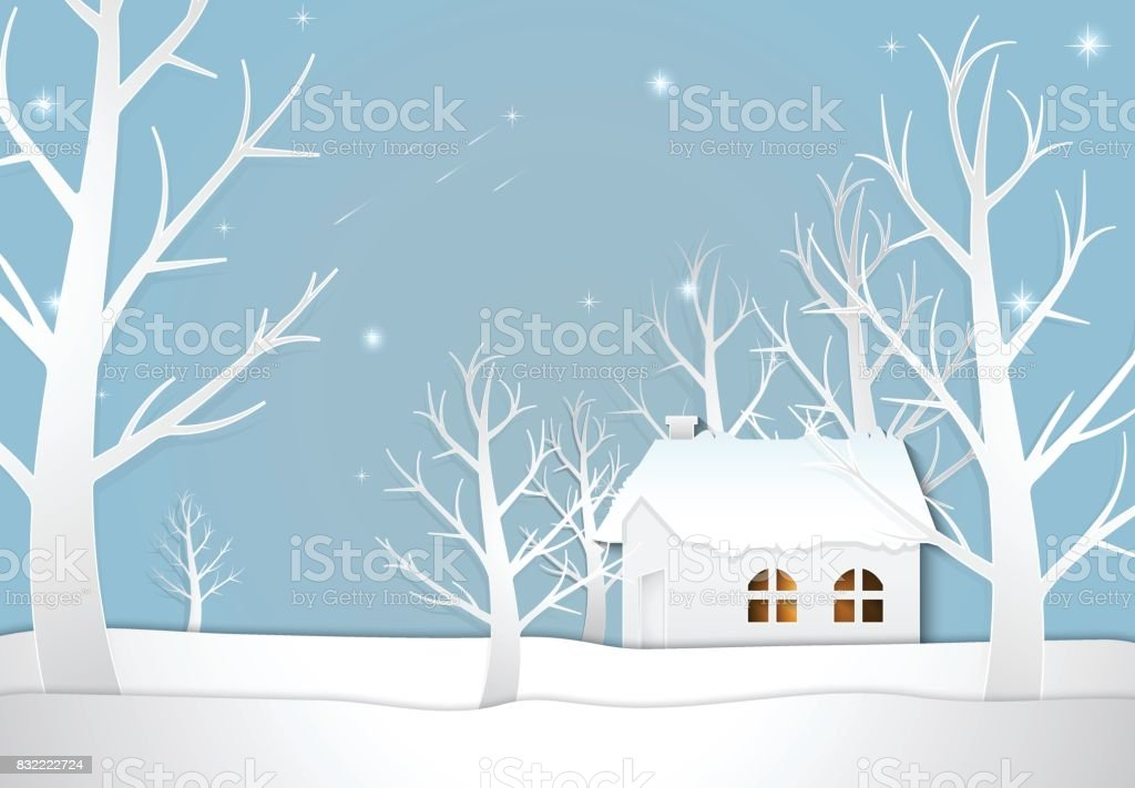 Cottage with star and comet Christmas season background paper art style illustration. vector art illustration