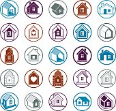 Cottages collection, real estate and construction theme. Houses vector illustration