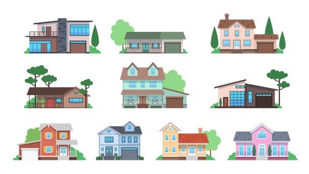 cottages. fasady domowe, domek letniskowy lub podmiejska kamienica, domy rodzinne z widokiem z przodu, architektura nieruchomości nowoczesny projekt płaski zestaw wektorowy - house stock illustrations