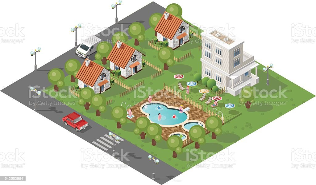 Cottages with Swimming Pool on White Background. vector art illustration