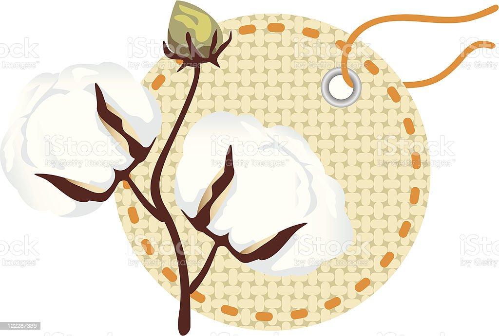 Cotton branch (Gossypium) royalty-free stock vector art