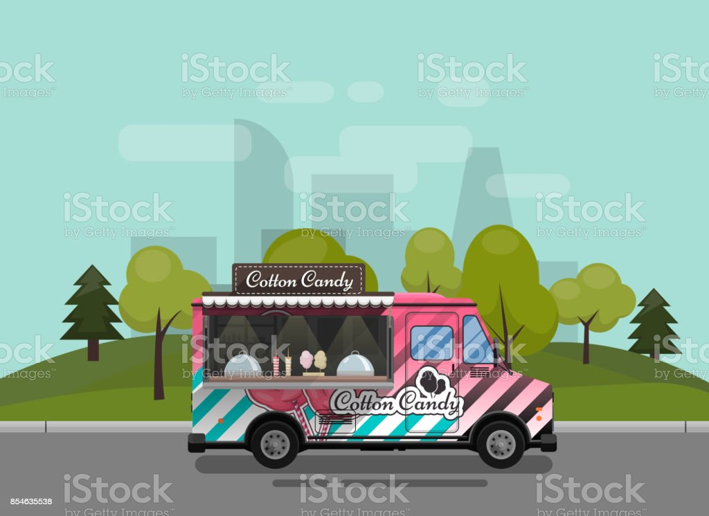 Cotton Candy, a kiosk on wheels, retail, candy and confectionery, illustrated and flat style vector illustration against the background of the city. Dried Cloud Dessert Illustration for your projects vector art illustration