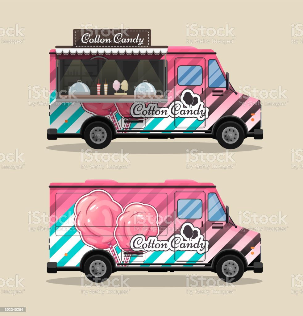 Cotton Candy, a kiosk on wheels, retail, candy and confectionery, illustrated and flat style vector illustration. Dried Cloud Dessert Illustration for your projects vector art illustration