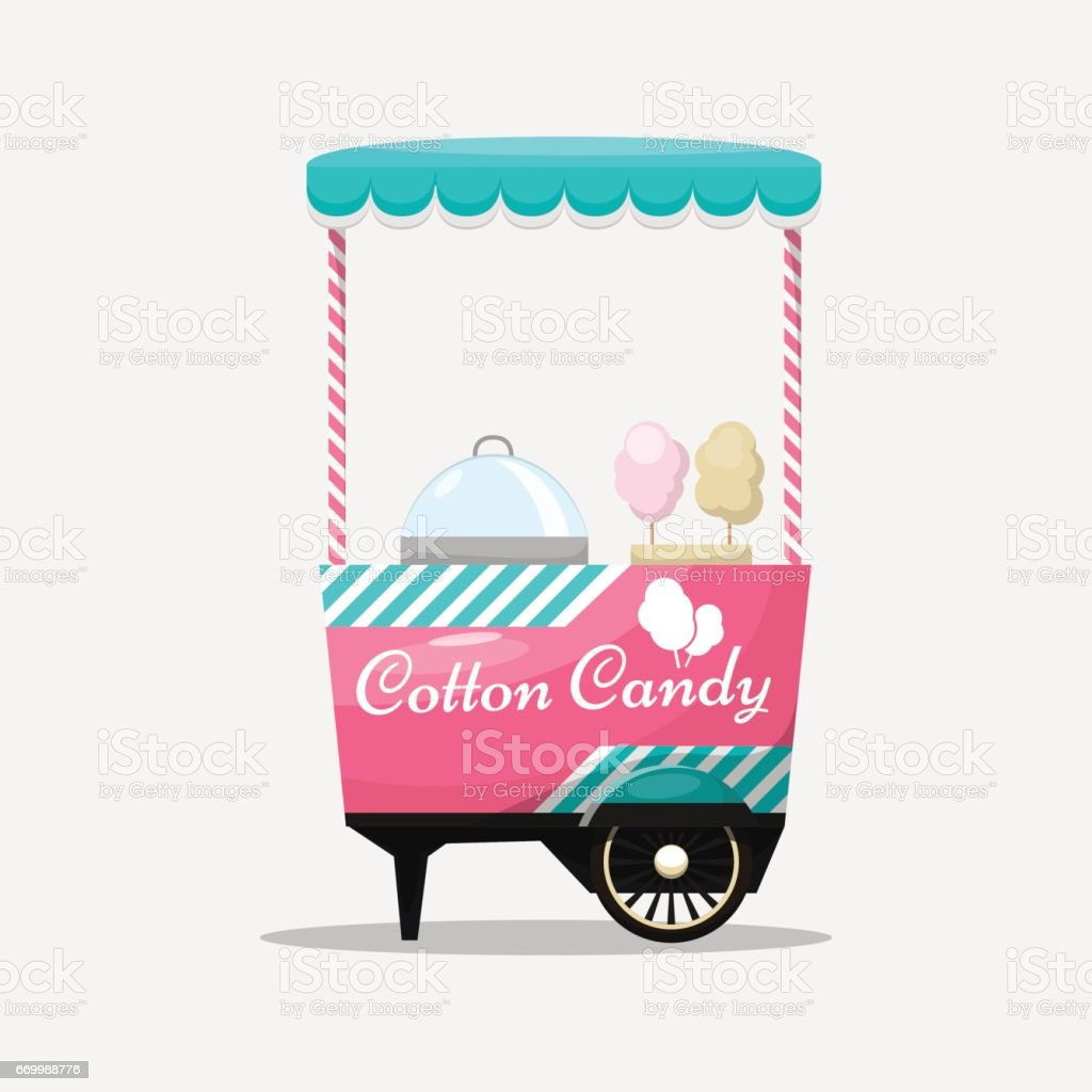 Cotton candy cart, kiosk on wheels, retail, sweets and confectio vector art illustration