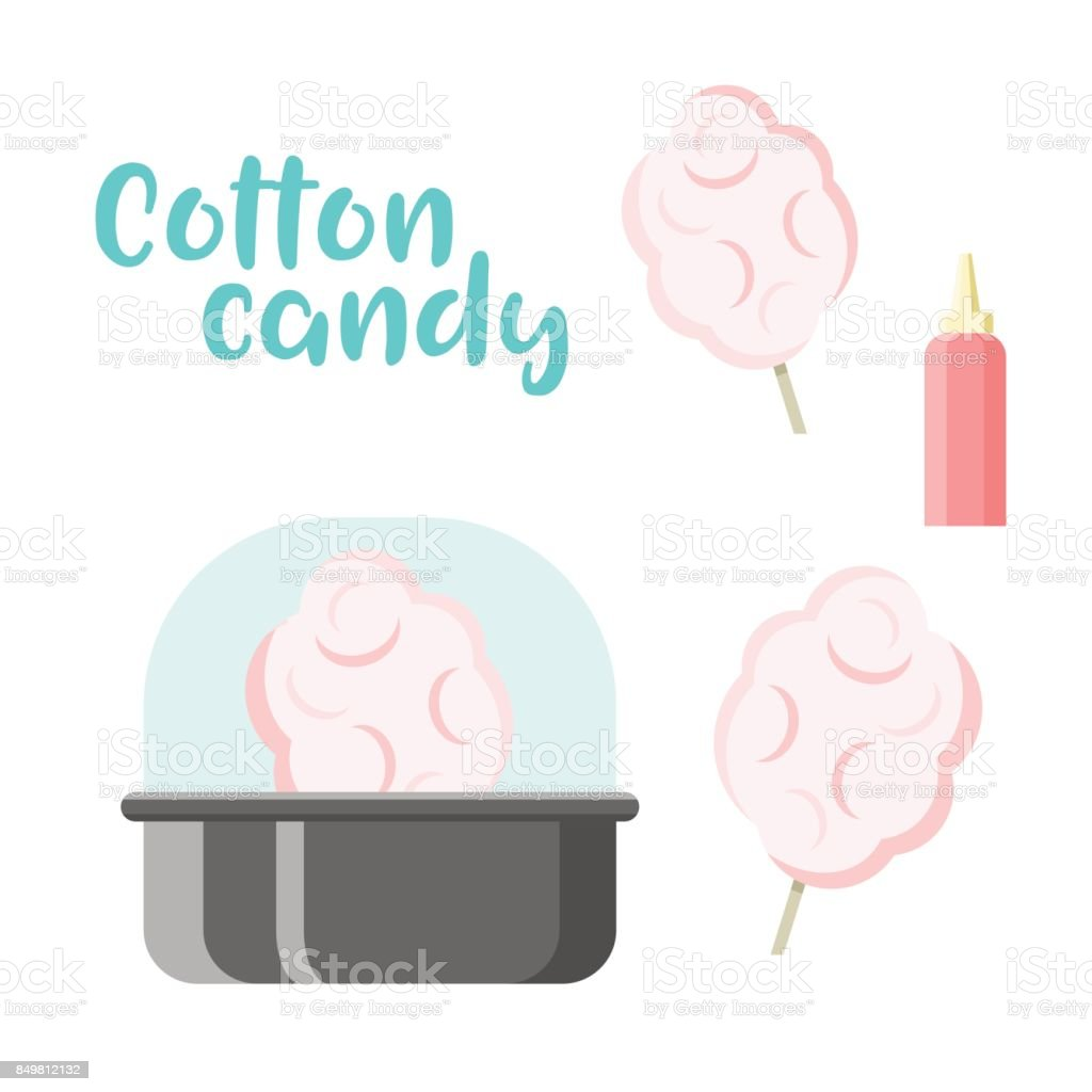 Cotton candy set. Colorful vector constructor vector art illustration