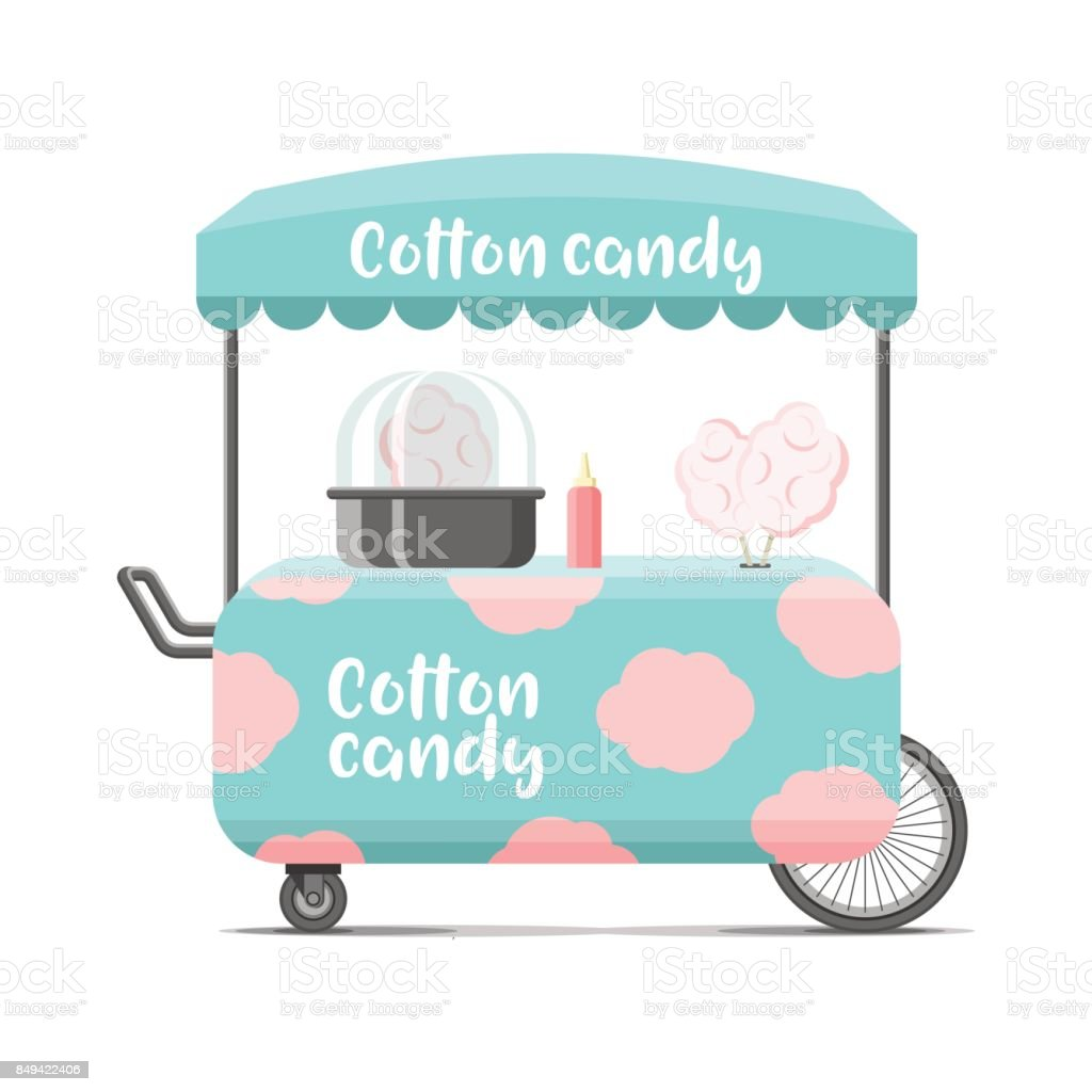 Cotton candy street food cart. Color vector image vector art illustration
