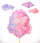 Cotton candy. Sugar clouds. Watercolor vector illustration