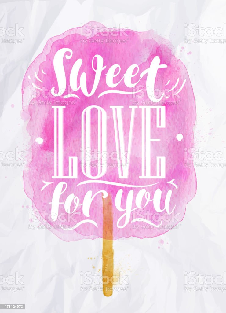 Cotton candy sweet love vector art illustration