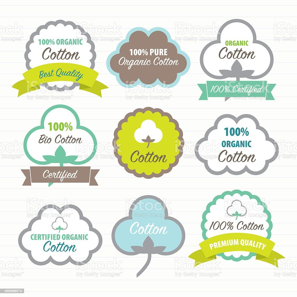 Cotton Certificates. Labels set vector art illustration