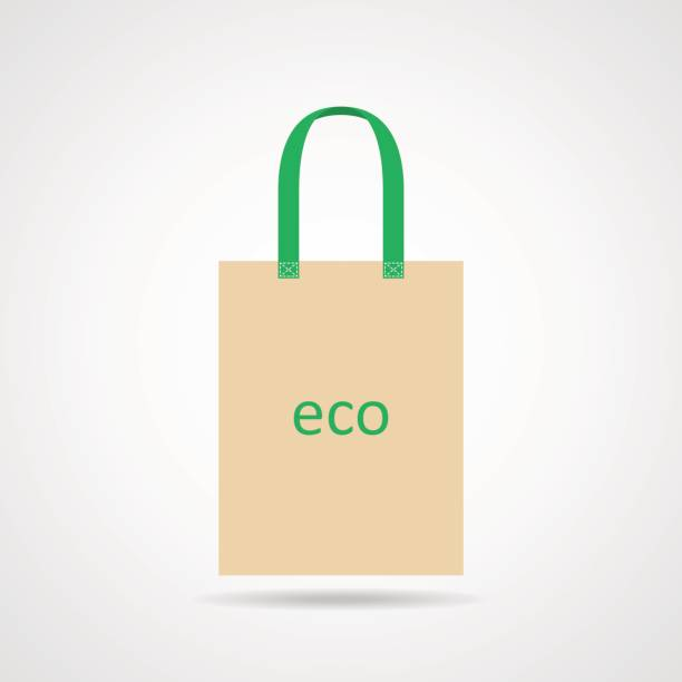 baumwolle eco tasche. vektor-illustration - stoffmarkt stock-grafiken, -clipart, -cartoons und -symbole