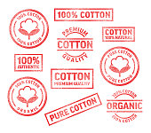 Cotton Fabric Clothing Label Quilting Rubber Stamps Vector Illustration