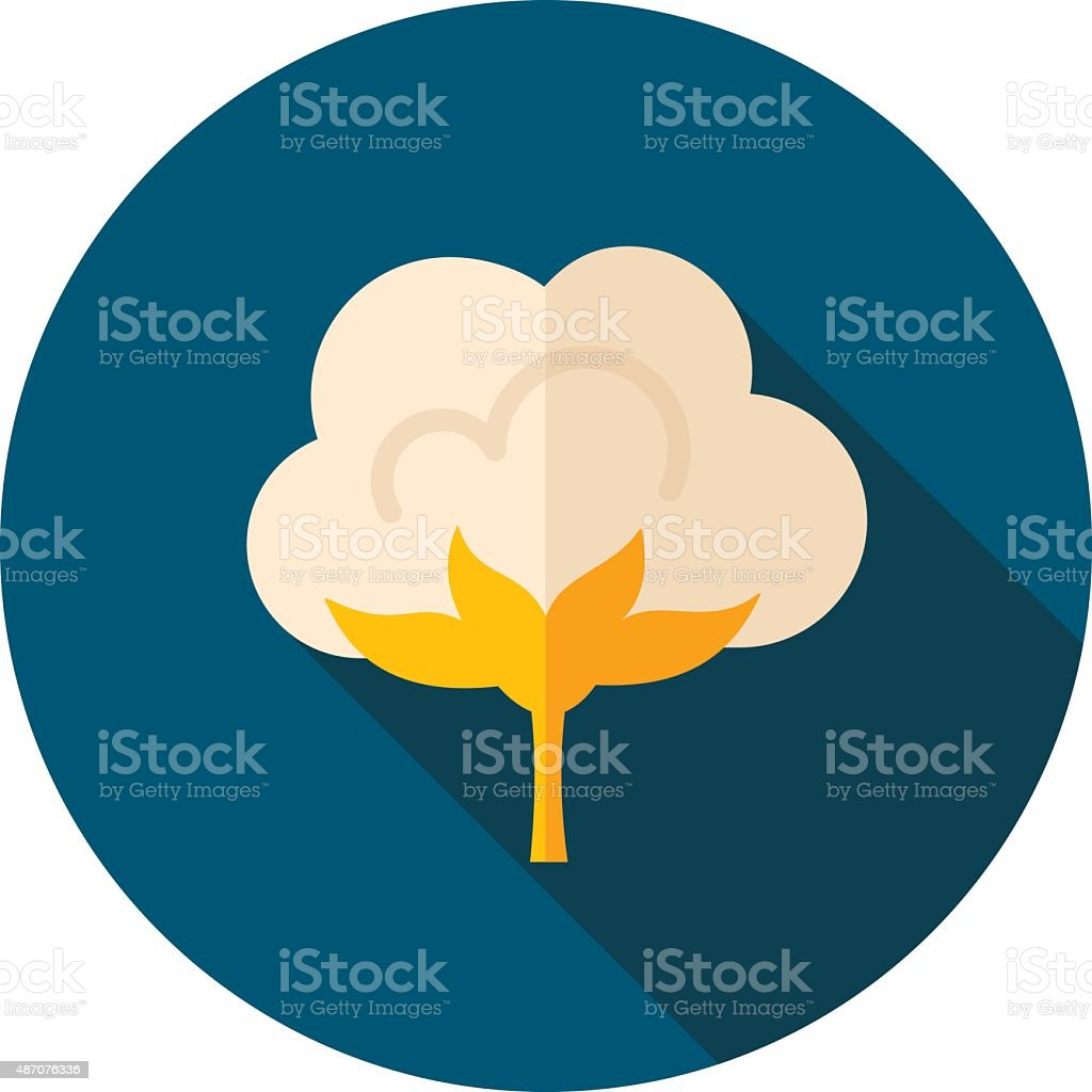 Cotton flat icon with long shadow vector art illustration