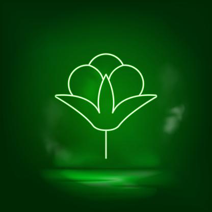 Cotton green neon icon - Vector