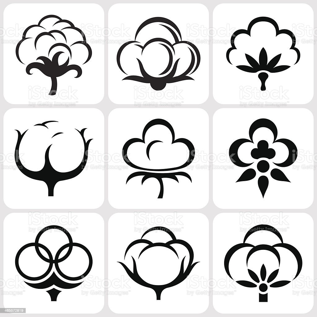 cotton icon set vector art illustration