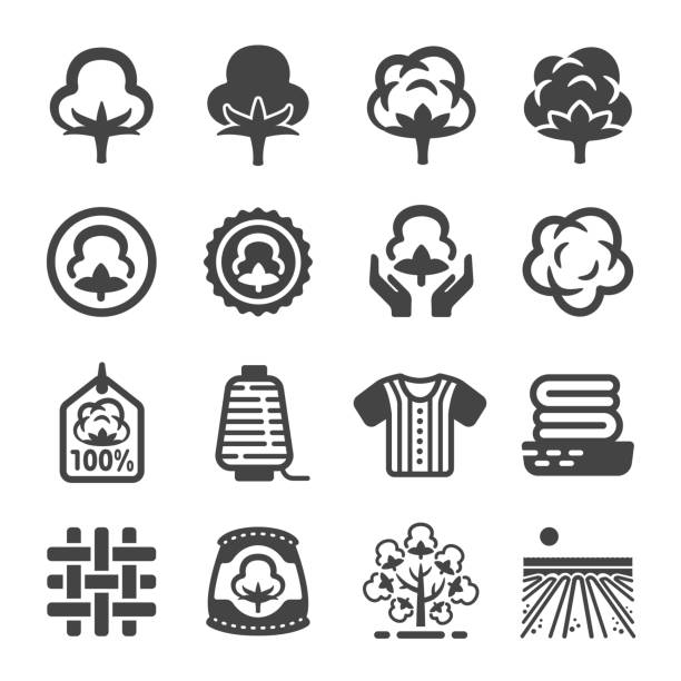 cotton icon - cotton stock illustrations, clip art, cartoons, & icons