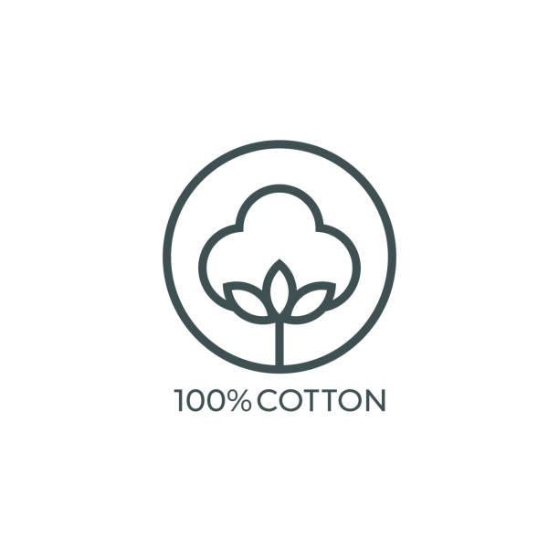 100% cotton icon. vector illustration - cotton stock illustrations, clip art, cartoons, & icons