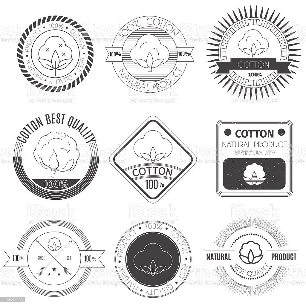 Cotton icons set. vector art illustration