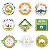 Cotton labels, stickers and emblems. Templates for your design, vector illustration.