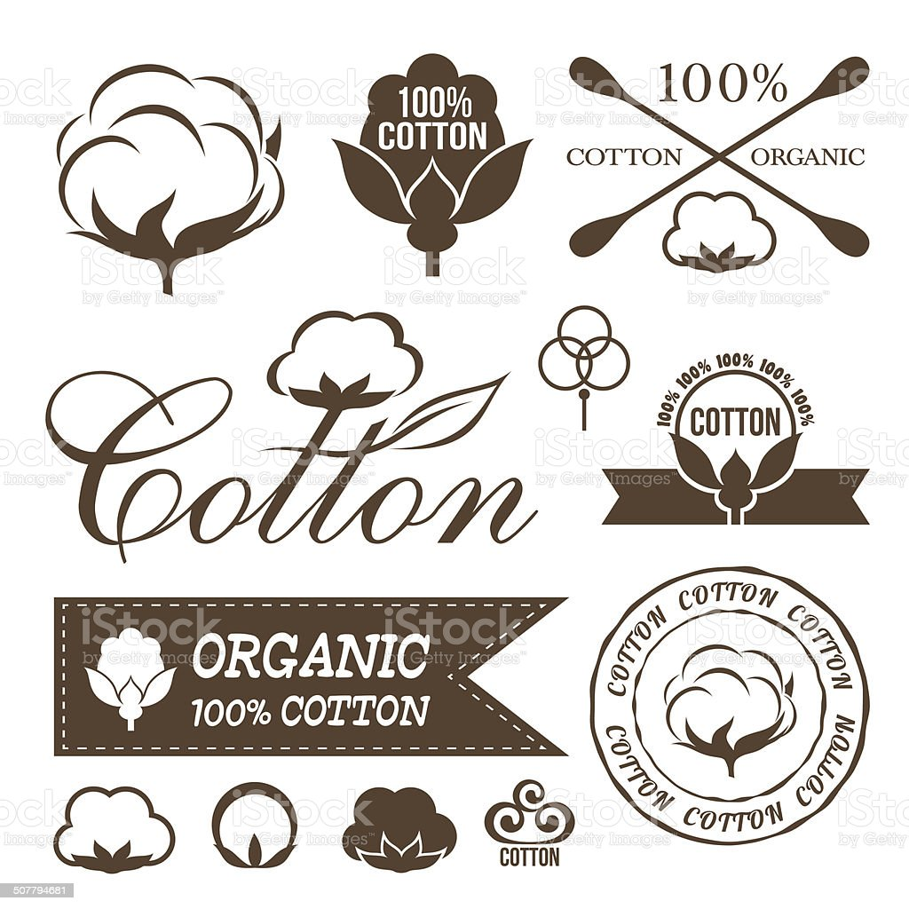 Cotton icons set. vector art illustration