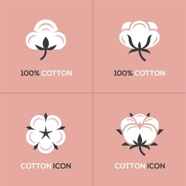 Cotton logo set. Four white cotton logo, symbol, icon set on pink background. cotton stock illustrations