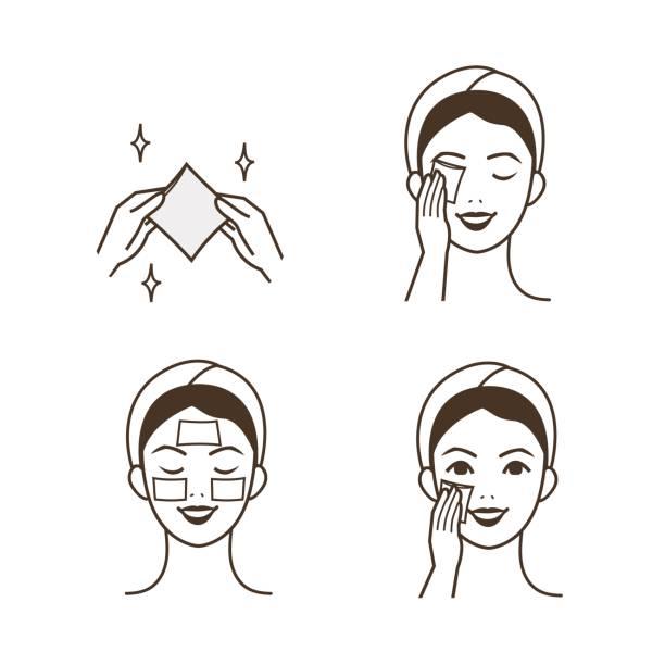 ilustrações, clipart, desenhos animados e ícones de blocos de algodão - limpando rosto