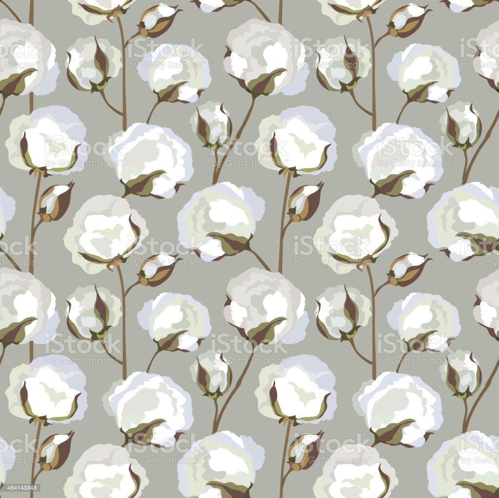Cotton plant floral seamless pattern vector art illustration