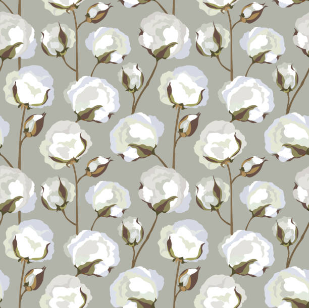 bildbanksillustrationer, clip art samt tecknat material och ikoner med cotton plant floral seamless pattern - cotton growing