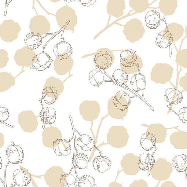 cotton plant graphic beige color seamless pattern background sketch illustration vector - cotton stock illustrations, clip art, cartoons, & icons