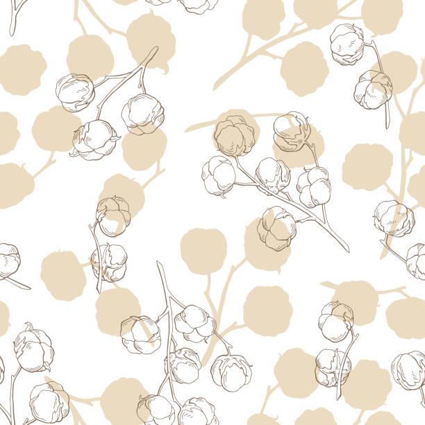 Baumwolle-Anlage Grafik Beige Farbe Musterdesign Hintergrund Skizze Abbildung Vektor – Vektorgrafik