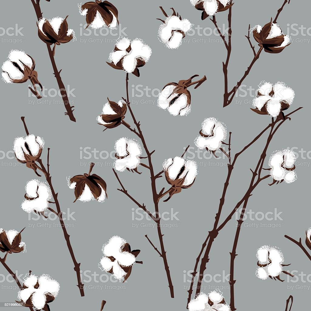 Cotton plants grey seamless vector pattern vector art illustration
