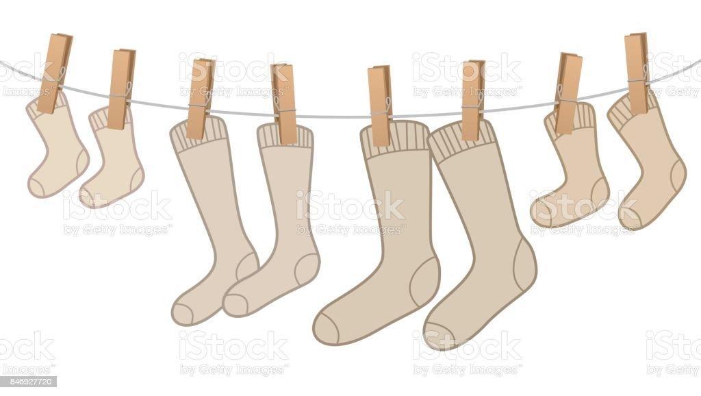 903ca5a713ed87 Cotton Socken Braun Wollfamilienpaket Auf Der Wäscheleine Für Mama ...